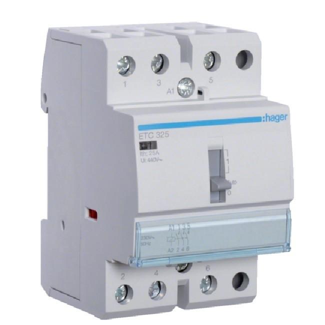 HAGER - Contacteur JN 25A, 3F, 230V - Ref ETC325