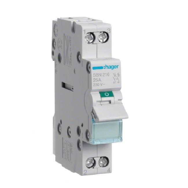 HAGER - Interrupteur modulaire 2P - 16A - Ref SBN216
