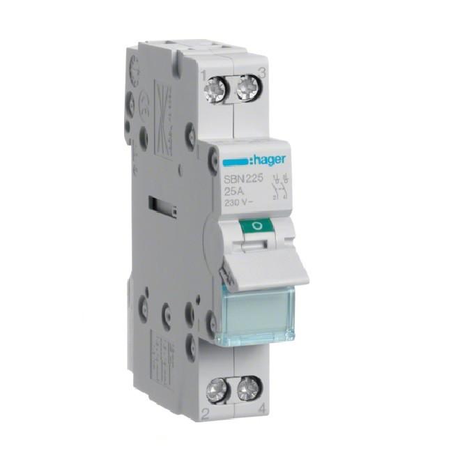 HAGER  - Interrupteur Modulaire  2P - 25A - Ref SBN225