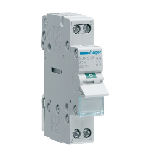 HAGER - Interrupteur Modulaire - 2P - 32A - Ref SBN232