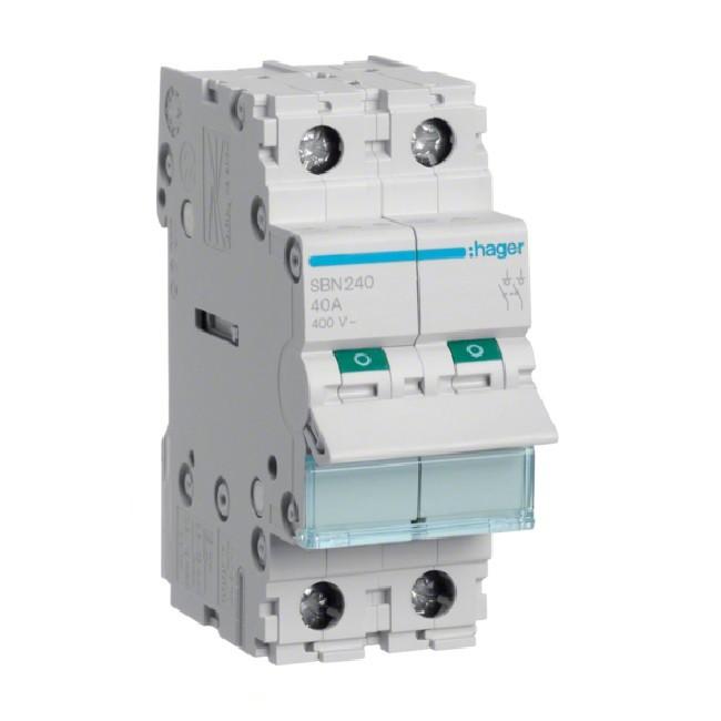 HAGER - Interrupteur Sectionneur 2P - 40A - Ref SBN240