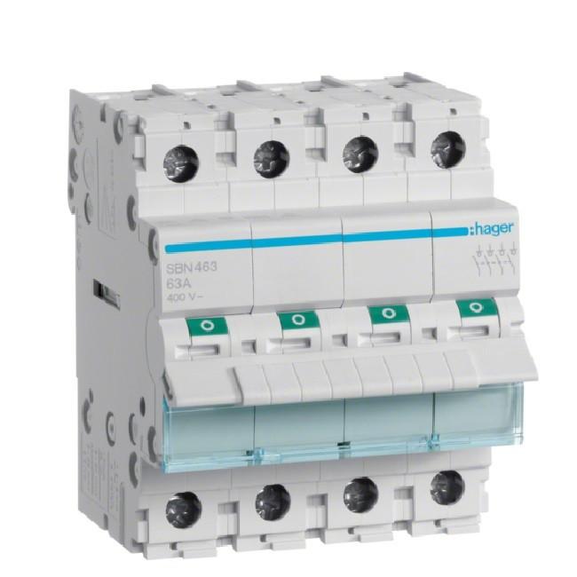 HAGER  - Interrupteur Sectionneur - 4P - 63A - Ref SBN463