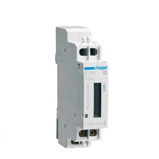 HAGER  - Compteur monophasé - 32A - 1 Module  - Ref EC050