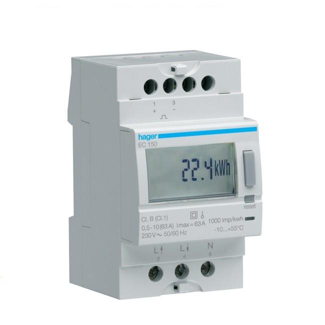 HAGER - Compteur monophasé direct 63A simple tarif - Ref EC150