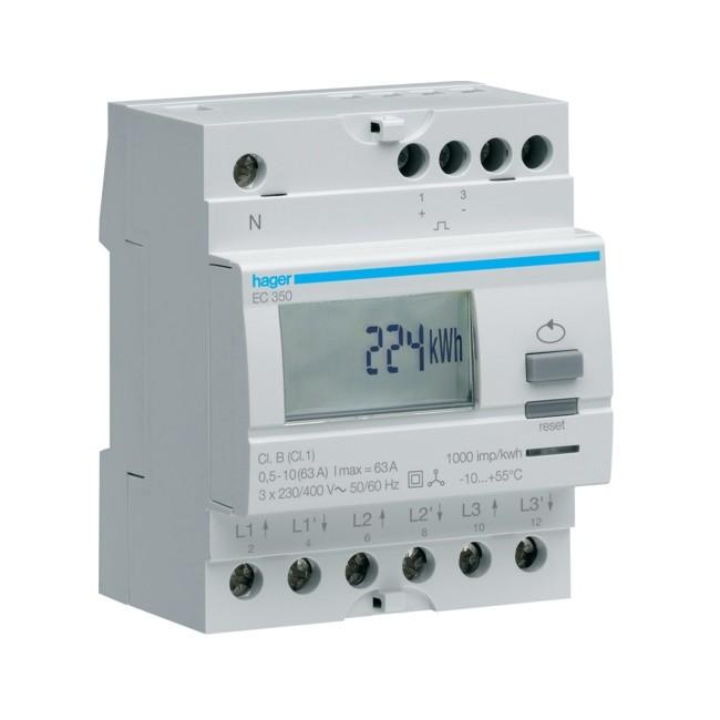 HAGER  - Compteur tri direct 63A simple tarif - Ref EC350