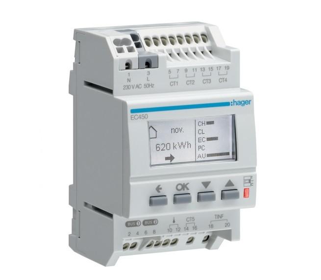 HAGER - Afficheur modulaire des consommations multi-énergies RT2012 - Ref EC450