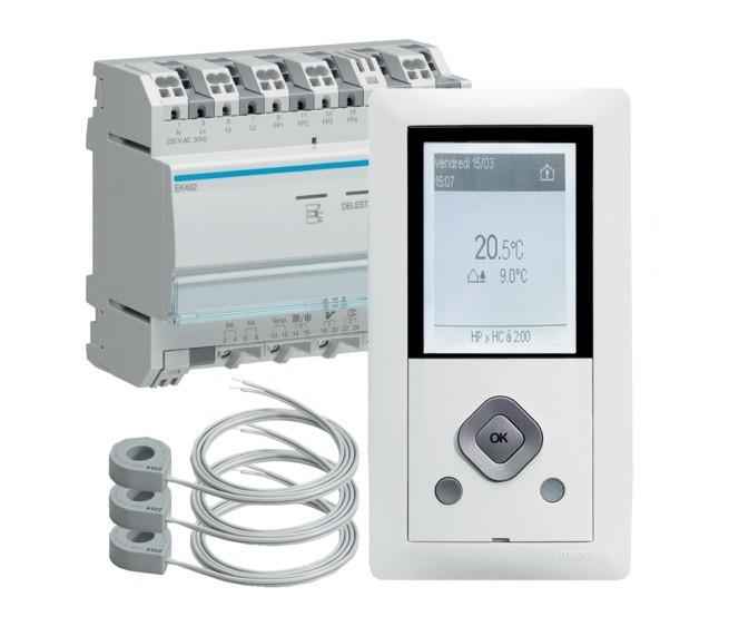 HAGER - Gestionnaire énergie RT2012 chauffage électrique 2 Zones - Ref EK482