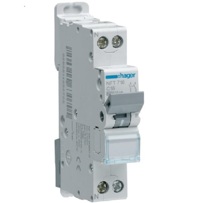 HAGER - Disjoncteur 1P+N 6-10kA Courbe D-10A 1m - Ref NGT710