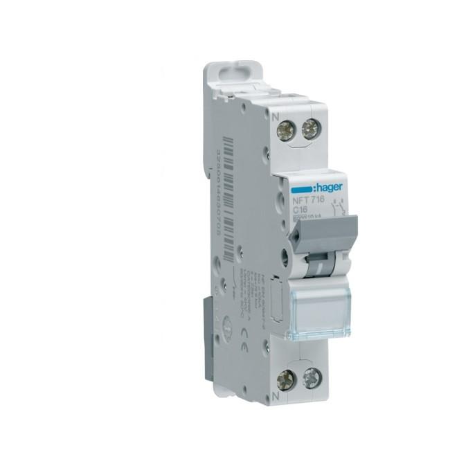 HAGER - Disjoncteur 1P+N -6/10kA Courbe D-16A - Ref NGT716