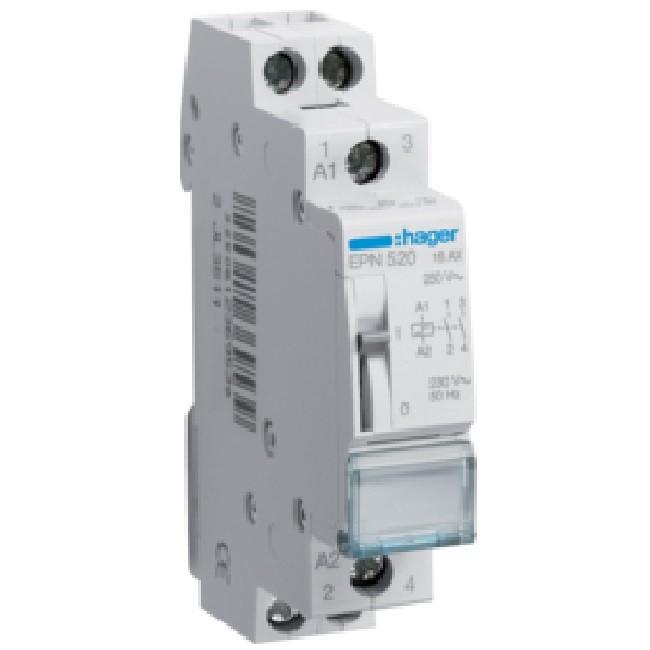 HAGER - Télérupteur 16A - 2F - Tension de 230V - Ref EPN520