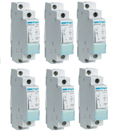 HAGER - LOT - 6 Télérupteurs - 16A - A Vis - Ref EPN510