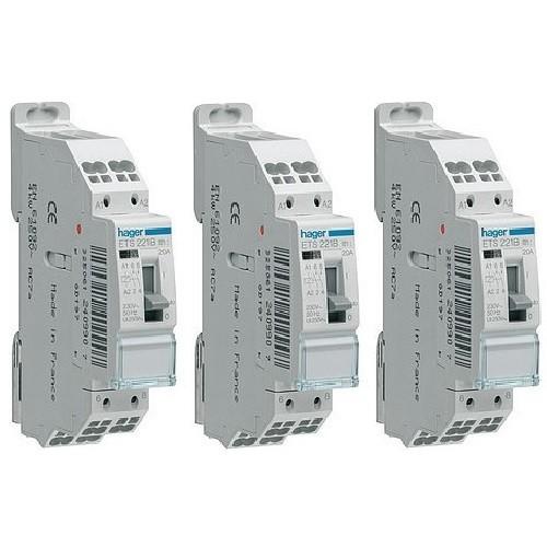 HAGER - LOT - 3 Contacteurs - 20A - A Vis - Ref  - ETS221B