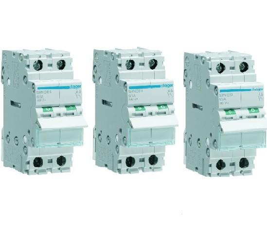 HAGER - LOT - 3 Interrupteurs-sectionneurs - 2P - 63A - Ref SBN263