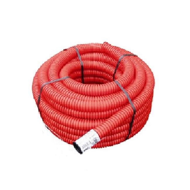Gaine TPC rouge ou noire liseré rouge - Ø 63 mm x 25 m - Réf - 6325R