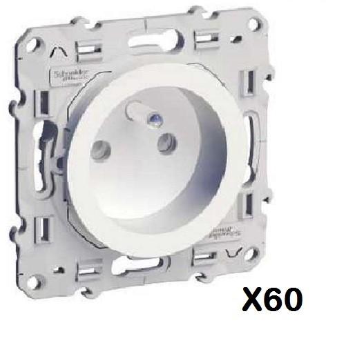 LOT - SCHNEIDER ELECTRIC - 60 prises 2P+T Odace - à vis, 2 connexions rapides par pôle Réf S520059