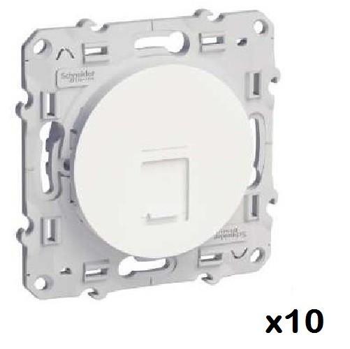 LOT - SCHNEIDER ELECTRIC - 10 Prises RJ45 Blanc Odace - grade 1 (téléphone + informatique) cat. 6 UTP, à vis ref S520476