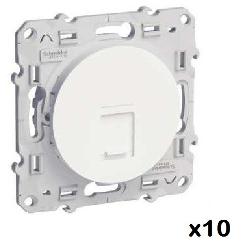 LOT - SCHNEIDER ELECTRIC - 10 Prises RJ45 Blanc Odace - grade 1 cat. 6 UTP à vis ref S520476