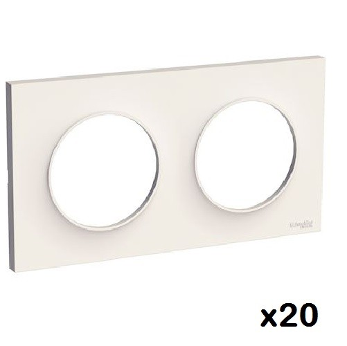 LOT - SCHNEIDER ELECTRIC - 20 plaques Blanc Odace - 2 Postes Réf S520704