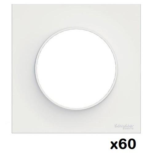 LOT - SCHNEIDER ELECTRIC - 60 plaques de finition Blanche Odace - 1 Poste ref S520702
