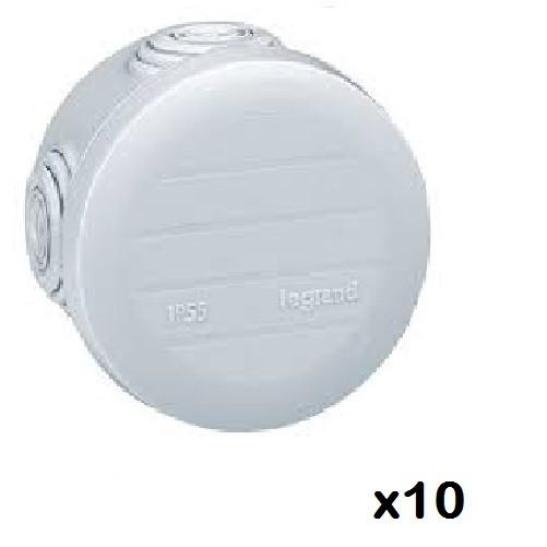 LOT - LEGRAND - 10 Btes rondes - Ø 60/h 40 étanche Plexo gris – embout (4) -IP55/IK07- 650C ref 092001