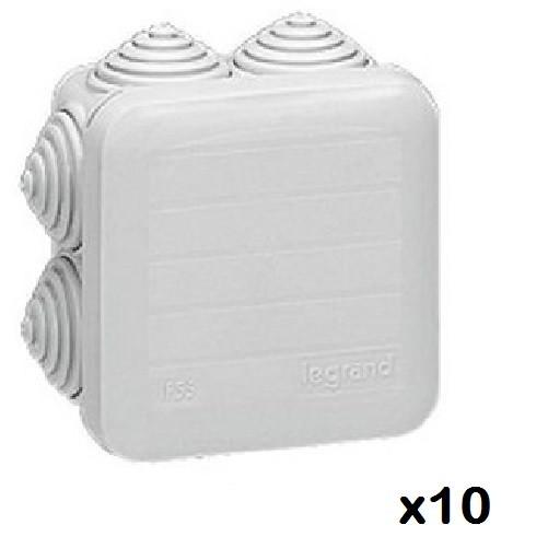 LOT - LEGRAND - 10 Btes carrées - 65x65x40 étanche Plexo gris Réf 092205