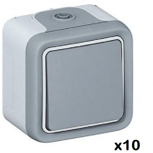 LOT - LEGRAND - 10 Boutons Poussoirs - NO Prog Plexo complet saillie gris – 10 A - Ref 069720