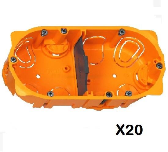 LOT - LEGRAND - 20 Boîtes multipostes Batibox  cloison sèche - vis/griffe – 2 postes - 4/5 – prof. 40 ref 080042