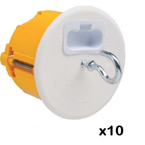 LOT - LEGRAND - 10 Boîtes luminaire Batibox  cloison sèche - couvercle DCL – pour point de centre ref 089337