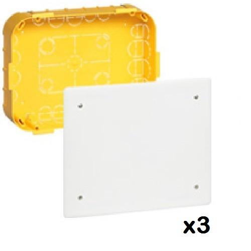 LOT - LEGRAND - 3 Boîtes dérivation Batibox  cloison sèche - 115x115x40 mm - couv 140 x 140 ref 089372