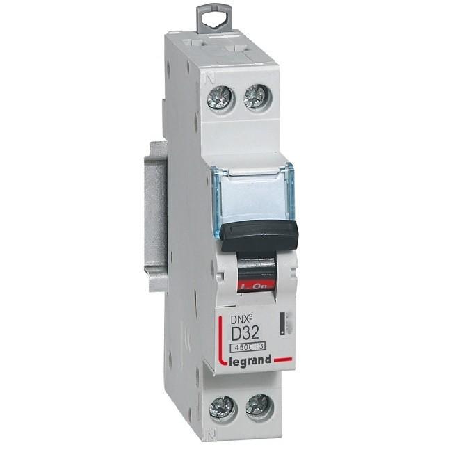 LEGRAND - Disjoncteur DNX 4500 - vis/vis - U+N 230V~ 32 A - 4,5 kA - courbe D - 1 mod - REF 406805