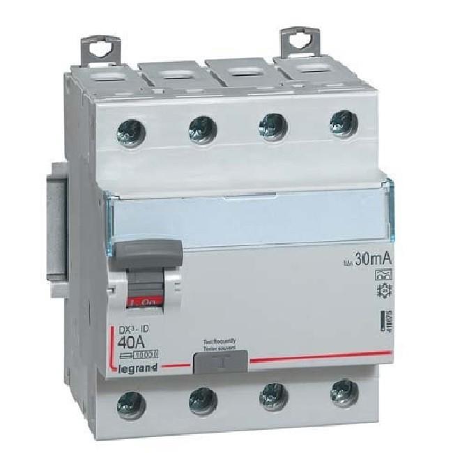 LEGRAND - Interrupteur différentiel DX-ID - vis/vis - 4P- 400V~- 40A - type A - 30mA - départ bas - 4M - REF 411675