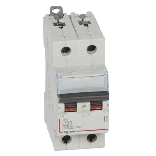 LEGRAND - Disjoncteur bipolaire DX3 25A - 10kA - courbe C - REF - 407786