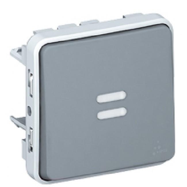 LEGRAND - Poussoir NO lumineux Prog Plexo composable gris - 10 A - Ref 069542