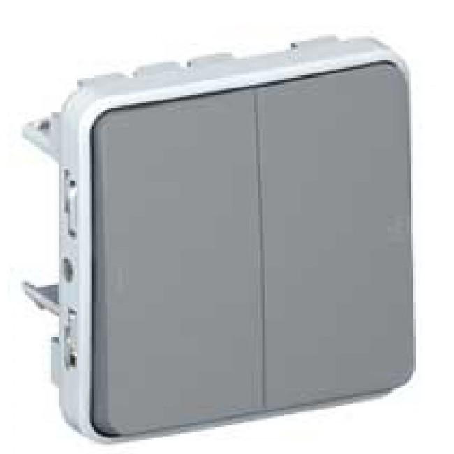 LEGRAND - Double va-et-vient Prog Plexo composable gris - 10 AX - Ref 069525