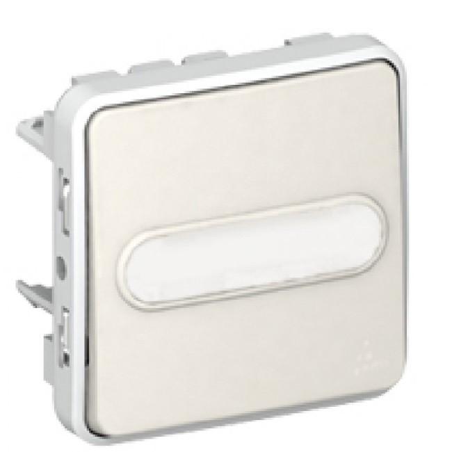 LEGRAND - Poussoir NO lumineux porte-étiquette Prog Plexo composable blanc - 10 A - Ref 069633