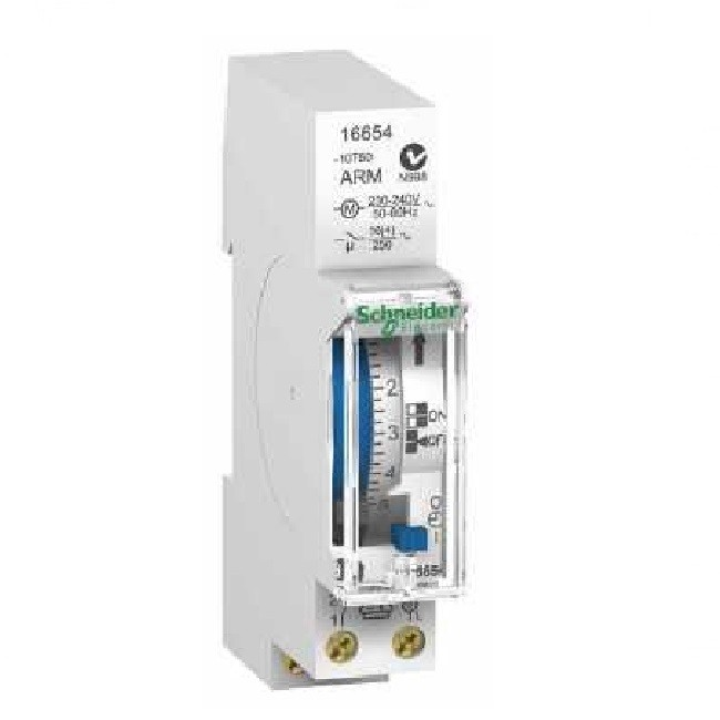 Schneider Electric - DuoLine interrupteur horaire mécanique IH\'clic 18mm cycle 24h 1canal 1F - ref 16654