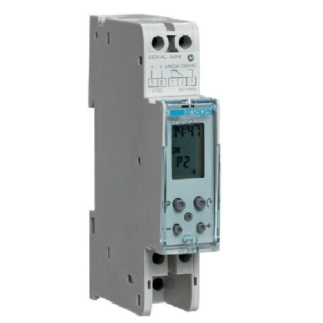 HAGER - Interrupteur horaire électronique compact 1 voie sur 7 jours, 10 programmes - Réf EG072