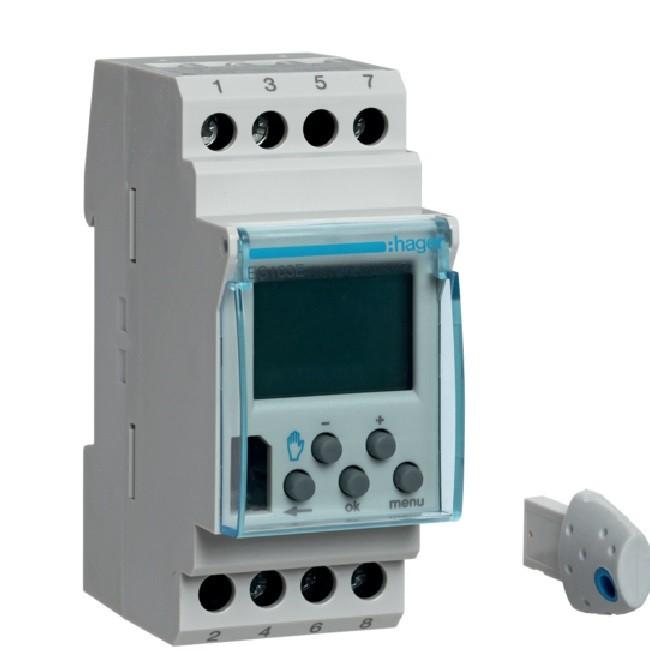 HAGER - Interrupteur horaire électronique 1 voie - Version évoluée (avec clé) 2 modules - Ref EG103E