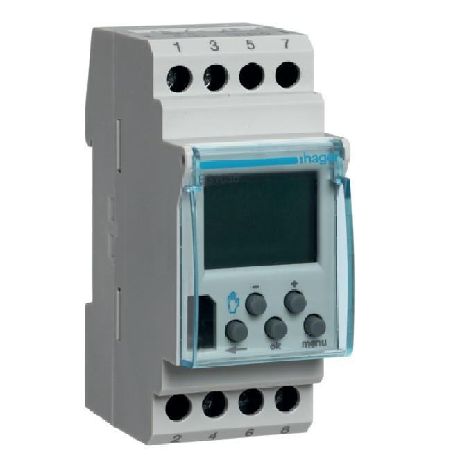 HAGER - Interrupteur horaire électronique - version base 1 voie 7jours - 2M - Ref EG103B