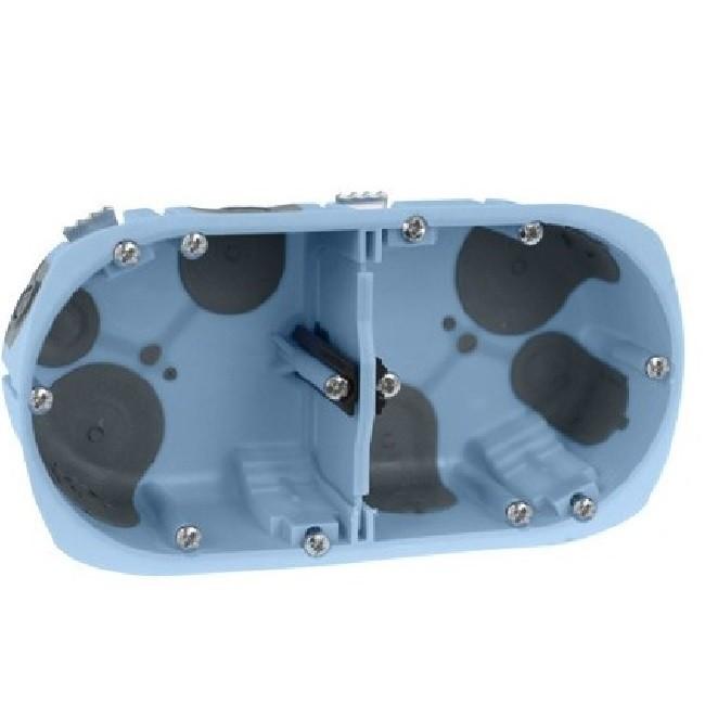 Eur\'Ohm - Boite d\'encastrement pour cloison sèche - XL Air\'Métic - 2 postes - Ø 67mm - Profondeur 50mm - REF 52065