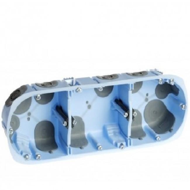 EUR\'OHM - Boite d\'encastrement pour cloison sèche - XL Air\'Métic - 3 postes - Ø 67mm - Profondeur 50mm - REF 52067