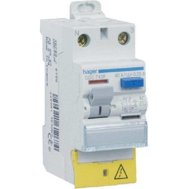 HAGER - Interrupteur différentiel - 2P 40A 30mA Type AC borne décalées - Réf CDC742F