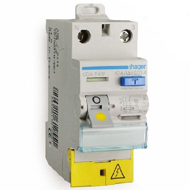 HAGER - Interrupteur différentiel 2P 40A 30mA - Type A - A borne décalé - Ref CDA743F