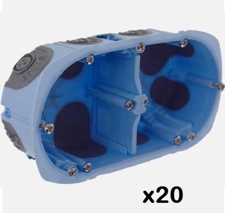 LOT - EUR\'OHM -  20 Boîtes d\'encastrement XL AIR\'métic - 2 Postes - Diam. 67mm - Prof 40 mm - REF 52064