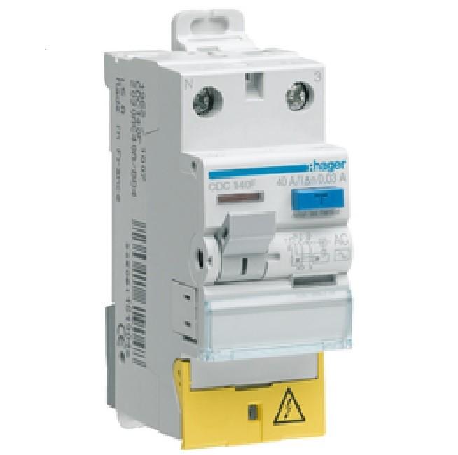 HAGER - Interrupteur différentiel 2P 40A 30mA type HI à bornes décalées - Réf - CDH140F