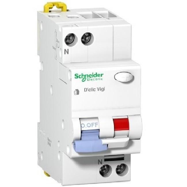 SCHNEIDER ELECTRIC - Duoline D\'clic Vigi - Disjoncteur Différentiel 1p+n 230vca 10A - Type F - Courbe C - REF - 27662