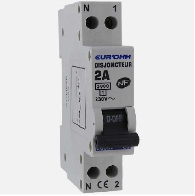 Eur\'ohm - Disjoncteur 1P+N 2A NF,cx vis haut/bas 3kA - Réf 20002