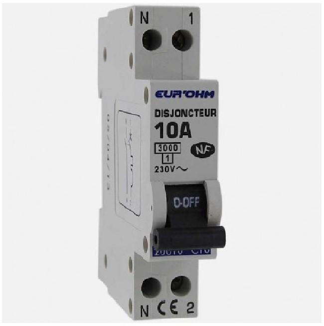 Eur\'ohm - Disjoncteur 1P+N 10A NF,cx vis haut/bas 3kA - Réf 20010