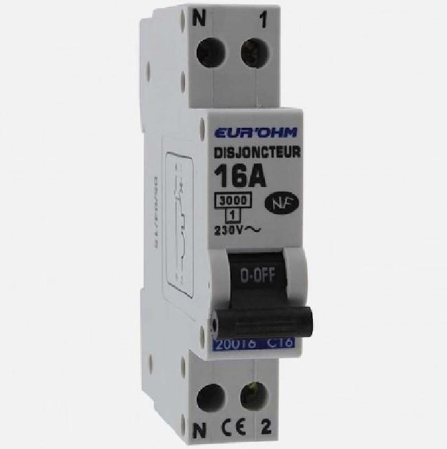Eur\'ohm - Disjoncteur 1P+N 16A NF,cx vis haut/bas 3kA - Réf 20016