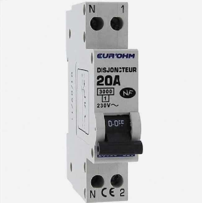EUR\'OHM - Disjoncteur 1P+N 20A NF,cx vis haut/bas 3kA - Réf 20020